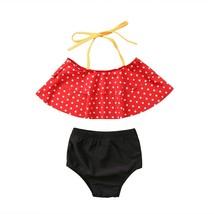 2PCS Summer Toddler Kids Baby Girl High Waist Polka Dot Halter Bandage S... - $10.29+