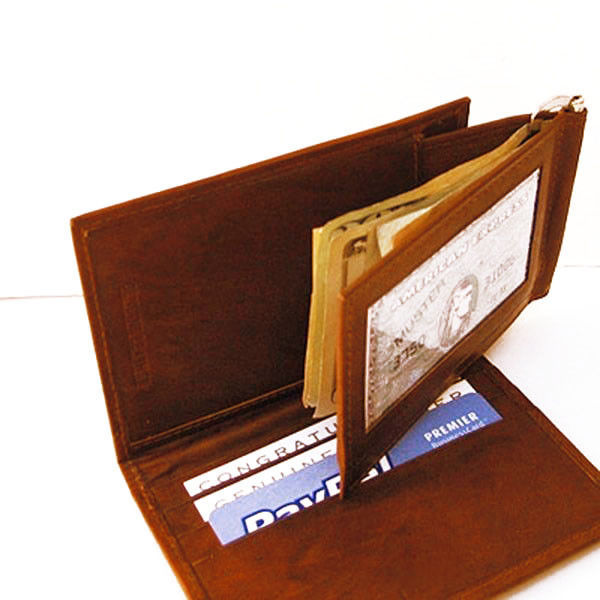 Primary image for BROWN RED LEATHER MONEY CLIP BIFOLD ID CARD Detachable Men's Wallet New
