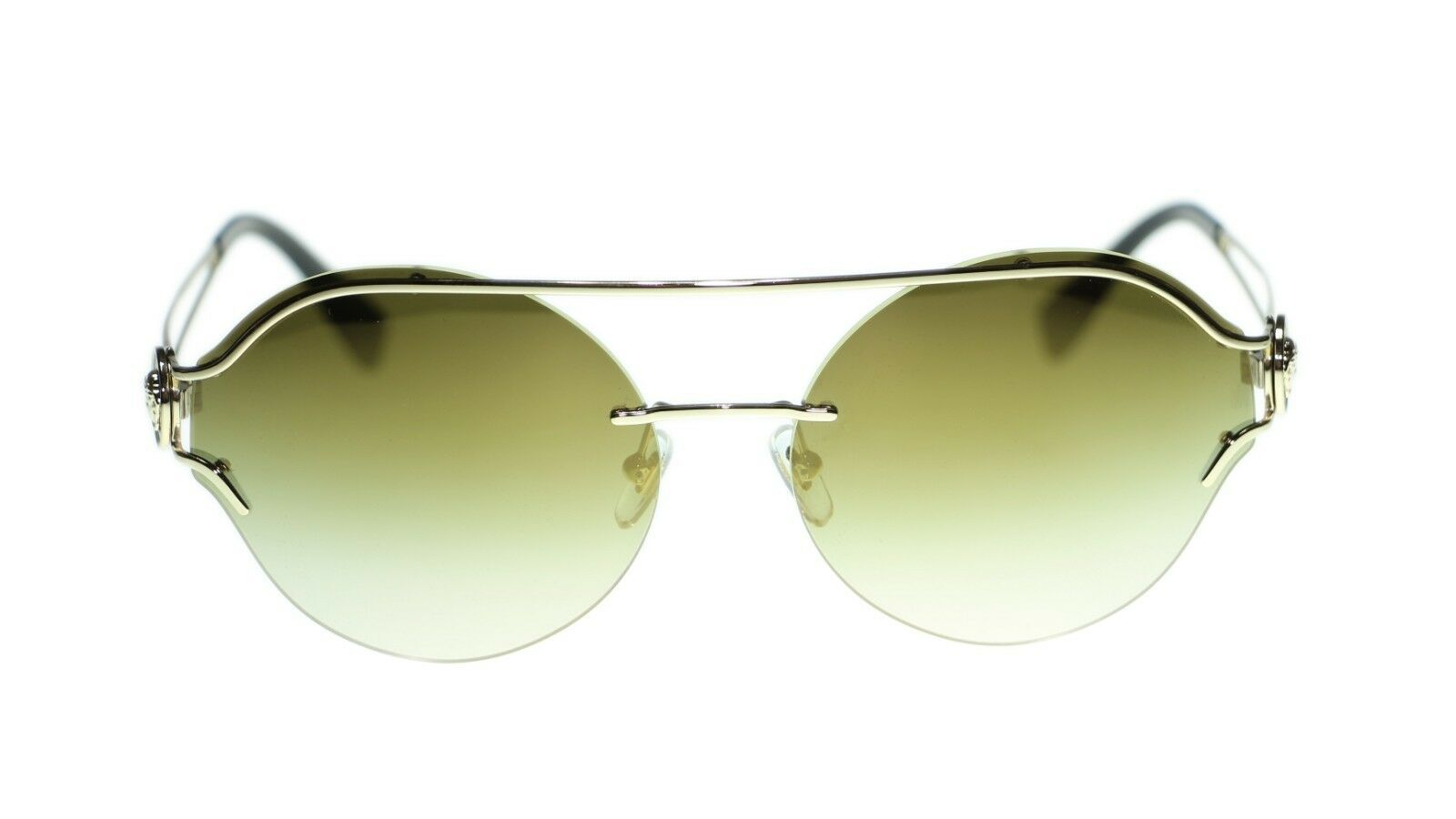 Versace Round Sunglasses VE2184 12526U Pale Gold Green Lens 61mm
