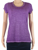 INC Womens Short-Sleeve Burnout T-Shirt Polyester Blend Size M Purple SI... - $9.99