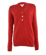 Charter Club Women's Henley Sweater 3-Button-V-Neck Long-Sleeve Red Plus... - $24.02