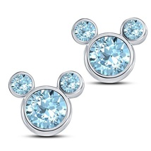 Fancy Mickey Mouse Stud Earrings Round Cut Aquamarine 14k White Gold 925 Silver - $43.60