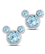 Fancy Mickey Mouse Stud Earrings Round Cut Aquamarine 14k White Gold 925... - $43.60