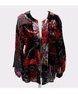 CHICO'S Size 0 (S) Luxe Burnout Velvet Jacket Kimono Sleeves - $28.99