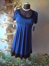 London Times Petite Blue & Black Short Sleeve Women Dress Size 4P New - $39.59