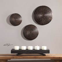 THREE NEW DECORATIVE RICH AGED BRONZE & AGED COPPER RIBBED ROUND WALL AR... - $195.80