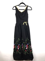 Vintage 1970's Maxi Dress Black Bohemian Embroidered Floral Pattern Sz X... - $29.66
