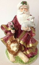Musical Ceramic Santa Christmas Around The World Lion Lamb Come Let us A... - $29.69