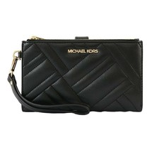 NWT MICHAEL KORS Peyton Large Wristlet Vegan Leather Card Wallet Black 3... - $87.12