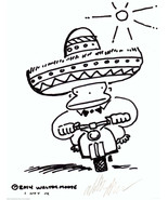 Sombrero Ape Rides Scooter to the Office. Original Cartoon Art by Walter... - $9.44
