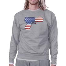 Pistol American Flag Unisex Grey Sweatshirt Gift For Gun Supporters - $20.99+