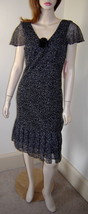 DRESSBARN Semi-Sheer Black/White V-Neck Cap Sleeve Flapper Dress w/ Pin (4) NWT - $19.50