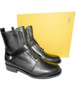 Fendi Runway Black Leather Ankle Boots Flat Biker Riding Booties 36.5 - $425.00