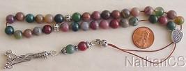 Bloodstone & Sterling Silver Greek Komboloi Worry Beads - $94.05