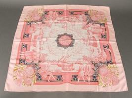 """Hermes Scarf AZVLEJOS 90 cm Silk Pink Carre 35"""" M249 - $394.02"""