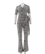 Wendy Williams Wrap Style Jumpsuit Snow Leopard XS NEW 420-205 - $54.43