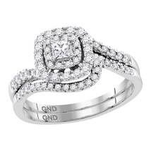 14k White Gold Princess Diamond Bridal Wedding Engagement Ring Band Set 1/2 Ctw - £728.14 GBP
