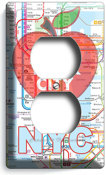 NYC NEW YORK CITY BIG APPLE SUBWAY MAP LIGHT SWITCH OUTLES WALL PLATE ROOM DECOR image 4
