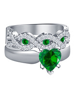 1 Carat Green Sapphire 14K White Gold Over 925 Silver Womens Engagement Ring Set - $74.81