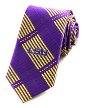 Louisiana State Mens Necktie Skinny 2.5 University College Plaid Purple ... - $31.68