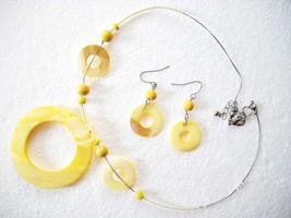 1950s Open Circle Mop & Seed Bead NECKLACE/PIERCED Earrings - $11.99