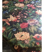 Braemore Floral Fabric Large Print Black Background Heavily Polished 8 YDS  - $93.14