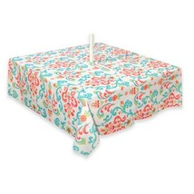 """Fabric Tablecloth Umbrella Hole Indoor Outdoor 60x84"""" Odesa New Water Re... - $31.08"""