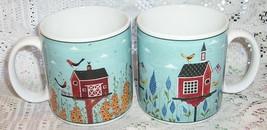 Warren Kimble Birdhouse Coffee Mugs Red Barn Schoolhouse Birds Sakura - $16.82