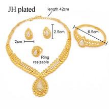 Dubai women wedding jewelry sets gold color necklace bracelet ring earrings Indi - $26.80