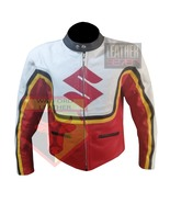 SUZUKI 4320 RED COWHIDE LEATHER MOTORBIKE MOTORCYCLE BIKER ARMOURED JACKET - $194.99