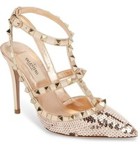 Valentino Garavani Rockstud Rose GOLD Sequin T-Strap Pointy Toe Pumps Sh... - $579.00