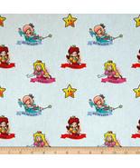 Nintendo Super Mario Mario Princesses White 100% cotton Fabric by the yard - $7.51