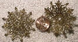 VINTAGE BRASS - 46mm Filigree Round Filagree Bead Cap Star - FINDINGS - ... - $11.87