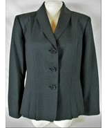 COLLECTIONS by LE SUIT womens Sz 14 L/S gray PLEATED FRONT button up jac... - $49.88