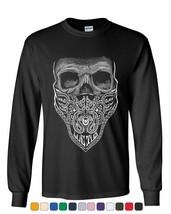 Bandana Skull Long Sleeve Tee Badass Gangsta Swag - $12.11+
