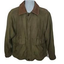 Rainforest Wool Flannel Lined Leather Trim Mens Jacket Brown Size M - $59.39