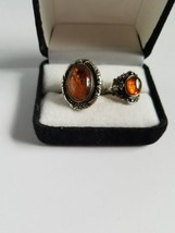 Lot of 2 Vintage Estate 925 Silver Amber rings - $34.65