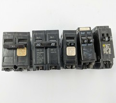 Lot of 5 2 pole and Sinle Pole 15  20 40 amp Electrical Breakers  - $14.01