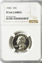 1960 25c Washington Proof Silver Quarter Dollar NGC PF66 Cameo - $25.25