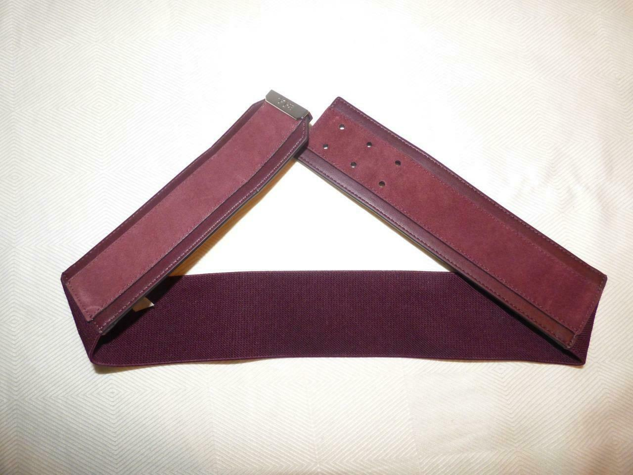 $58.00 Lauren Ralph Lauren Women's Wide  Suede Inlay Stretch belt. Red/ Port