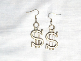New Bling $ Money Money Money $ Sign Payola Cash Dough Pewter Pendant Earrngs - $9.99