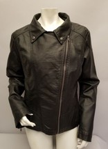 Charlotte Russe Black Faux Leather Motorcycle Jacket Size XL - $17.81