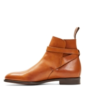 Handmade Men's Brown High Ankle Monk Strap Leather Boots image 2