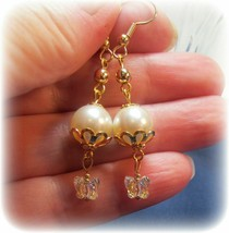 made w AB Butterfly Swarovski Crystal and White Pearl Element Earrings HM - $11.88