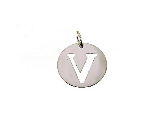 18K WHITE GOLD ROUND MEDAL WITH INITIAL V LETTER V MADE IN ITALY DIAMETER 0.5 IN