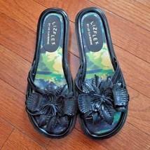 LizFlex Liz Claiborne Black Flower Sandals Size 6 - $14.99