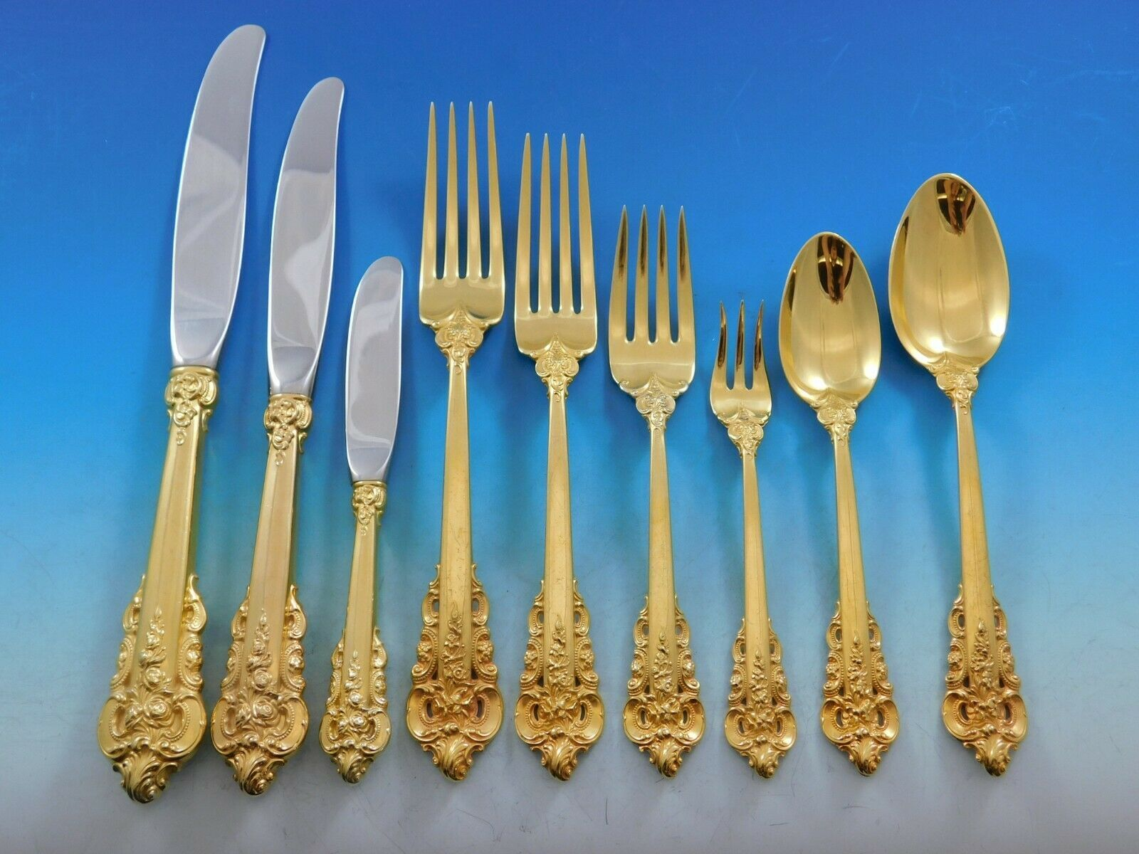 Primary image for Golden Grande Baroque by Wallace Sterling Silver Flatware Set Dinner 72 pcs Gold