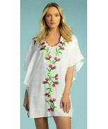 Trina Turk Birds Of Paradise Caftan Swimsuit Cover Up Tunic Dress M L - $107.99