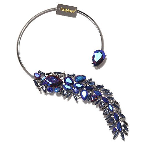 Holylove Women Statement Necklace Blue, Costume Necklace for Women Novelty Fashi