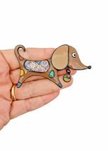 "2.5"" Wide Enamel Doxie Wiener Dachshund Dog Brooch Pin ""C"" Clasp Animal Jewelry - $12.83"